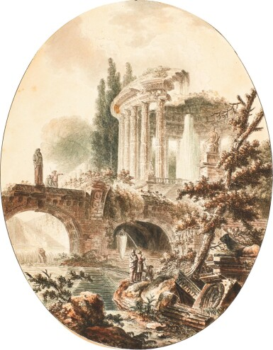 View 1. Thumbnail of Lot 66.  JEAN-HENRY-ALEXANDER PERNET | AN ARCHITECTURAL FANTASY WITH THE TEMPLE OF VESTA.
