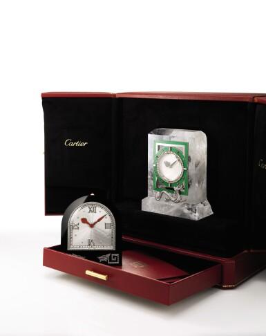 View 2. Thumbnail of Lot 1661. Cartier | Rock Crystal, Enamel, Diamond and Hardstone Desk Clock | 卡地亞 | 白水晶, 琺琅彩 配 鑽石 及 硬石 座鐘.
