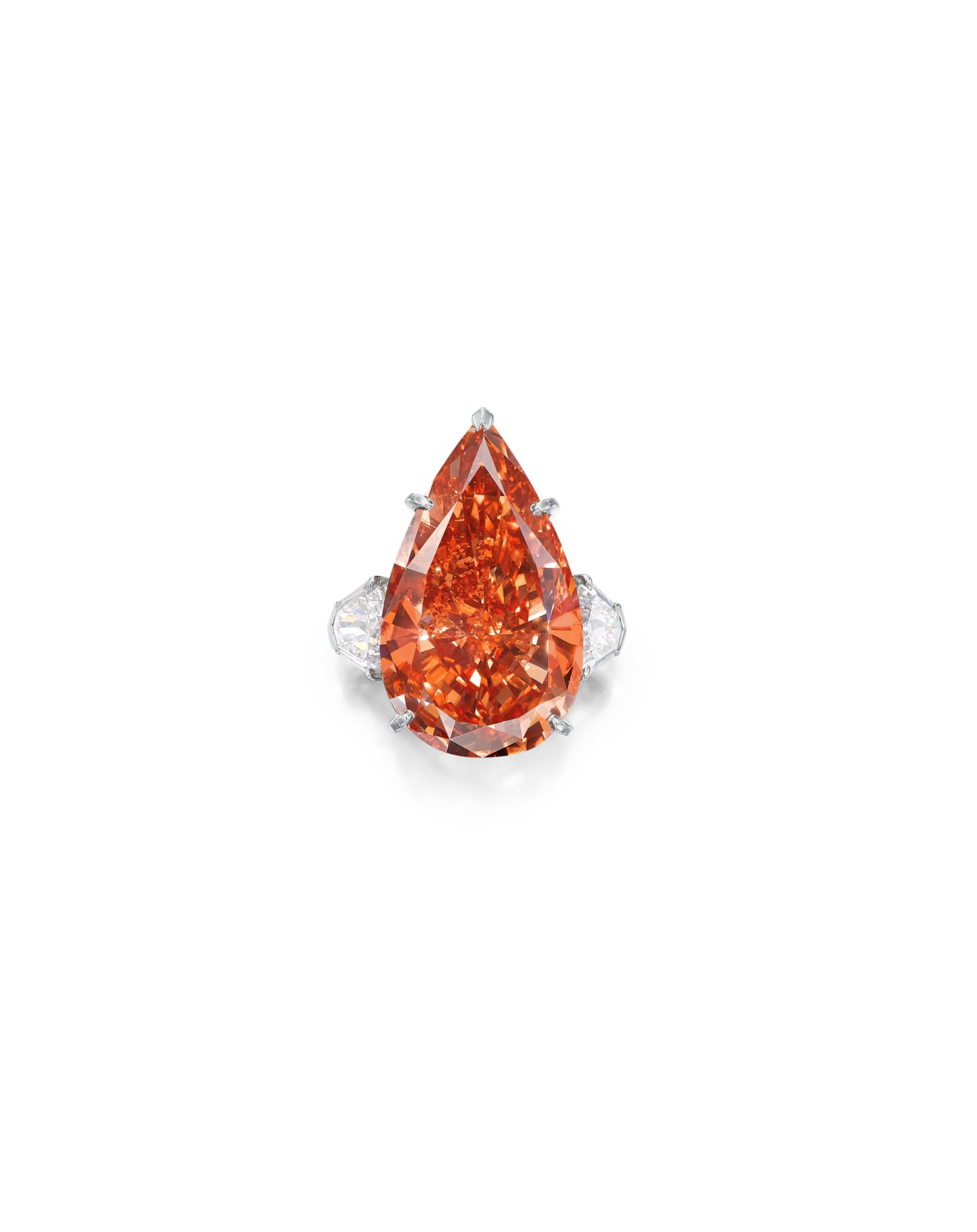 View full screen - View 1 of Lot 1743. Cartier | A Highly Important and Exceptional Fancy Deep Pinkish Orange Diamond and Diamond Ring | 卡地亞 | 23.48克拉 深彩粉紅橙色鑽石 配 鑽石 戒指.