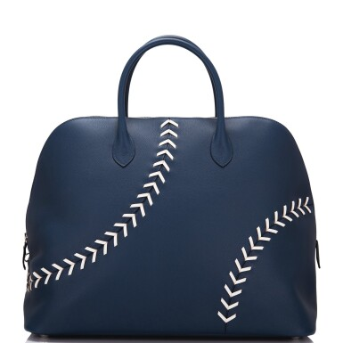 View 4. Thumbnail of Lot 17. Hermès Baseball Bolide 45cm in Bleu de Malte Evercolor Leather with Palladium Hardware.