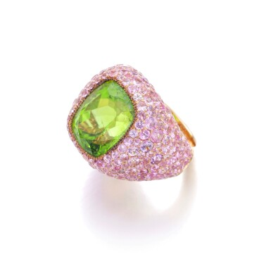 View 2. Thumbnail of Lot 6. MICHELE DELLA VALLE | PERIDOT AND PINK SAPPHIRE RING.