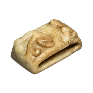 View 2. Thumbnail of Lot 96. A beige-brown and celadon jade 'chilong' scabbard slide, Song - Ming dynasty.