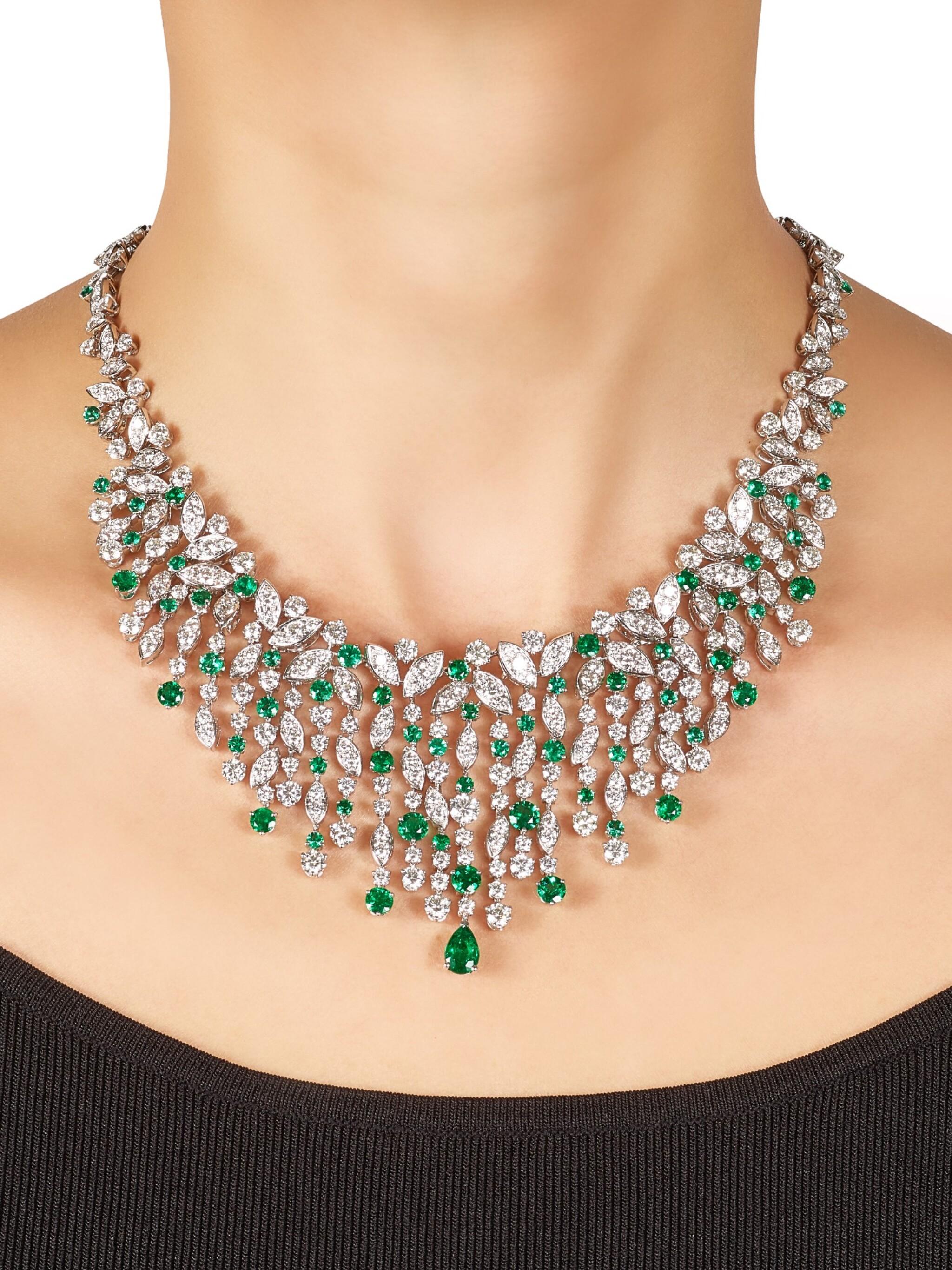 View full screen - View 1 of Lot 1037. 'Rhythm' Emerald and Diamond Necklace | 格拉夫| 'Rhythm' 祖母綠 配 鑽石 項鏈 (祖母綠及鑽石共重約12.20及34.80克拉).