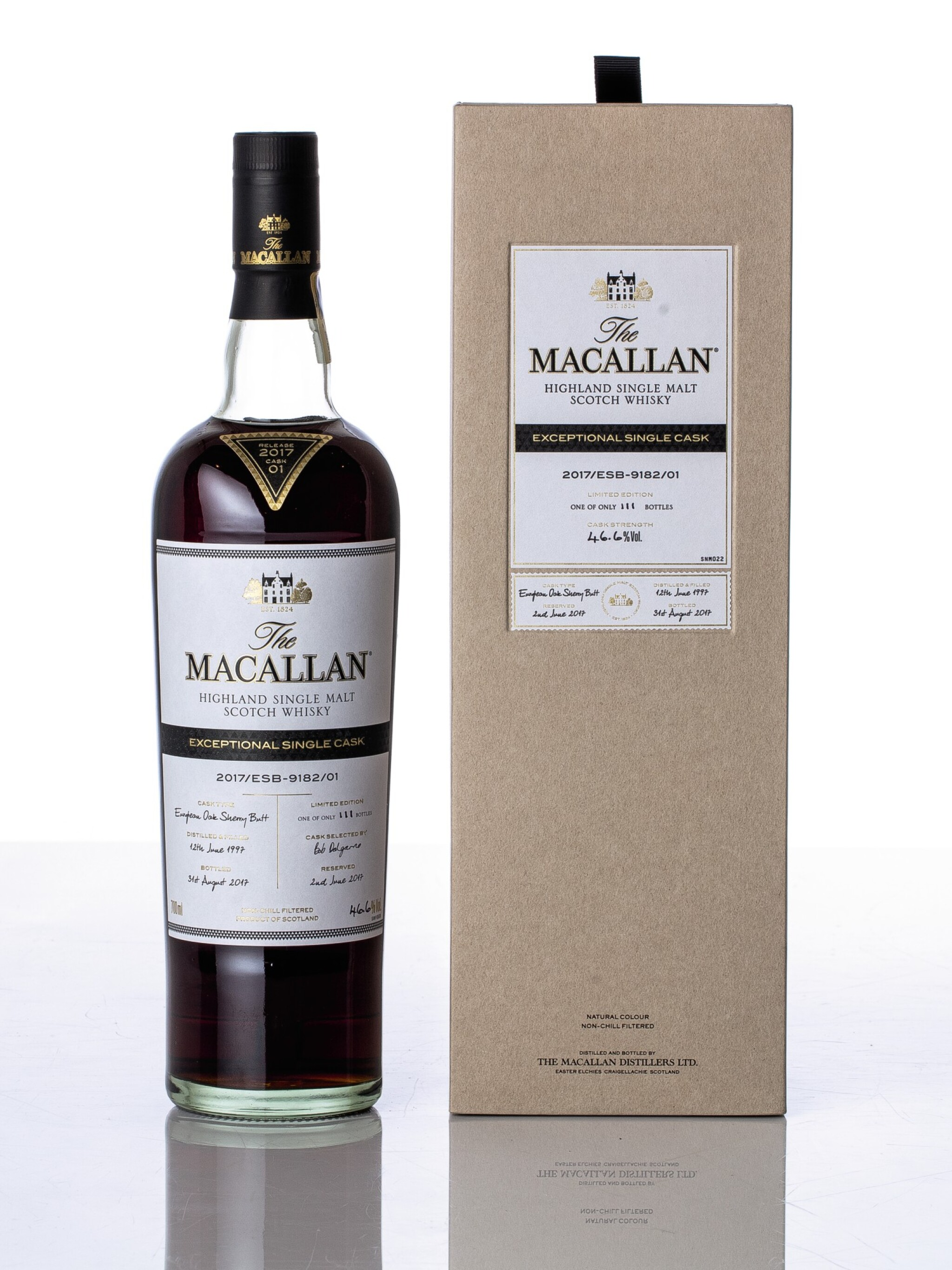 View full screen - View 1 of Lot 5515. The Macallan Exceptional Single Cask 2017/ESB-9182/01 46.6 abv 1997 (1 BT70).