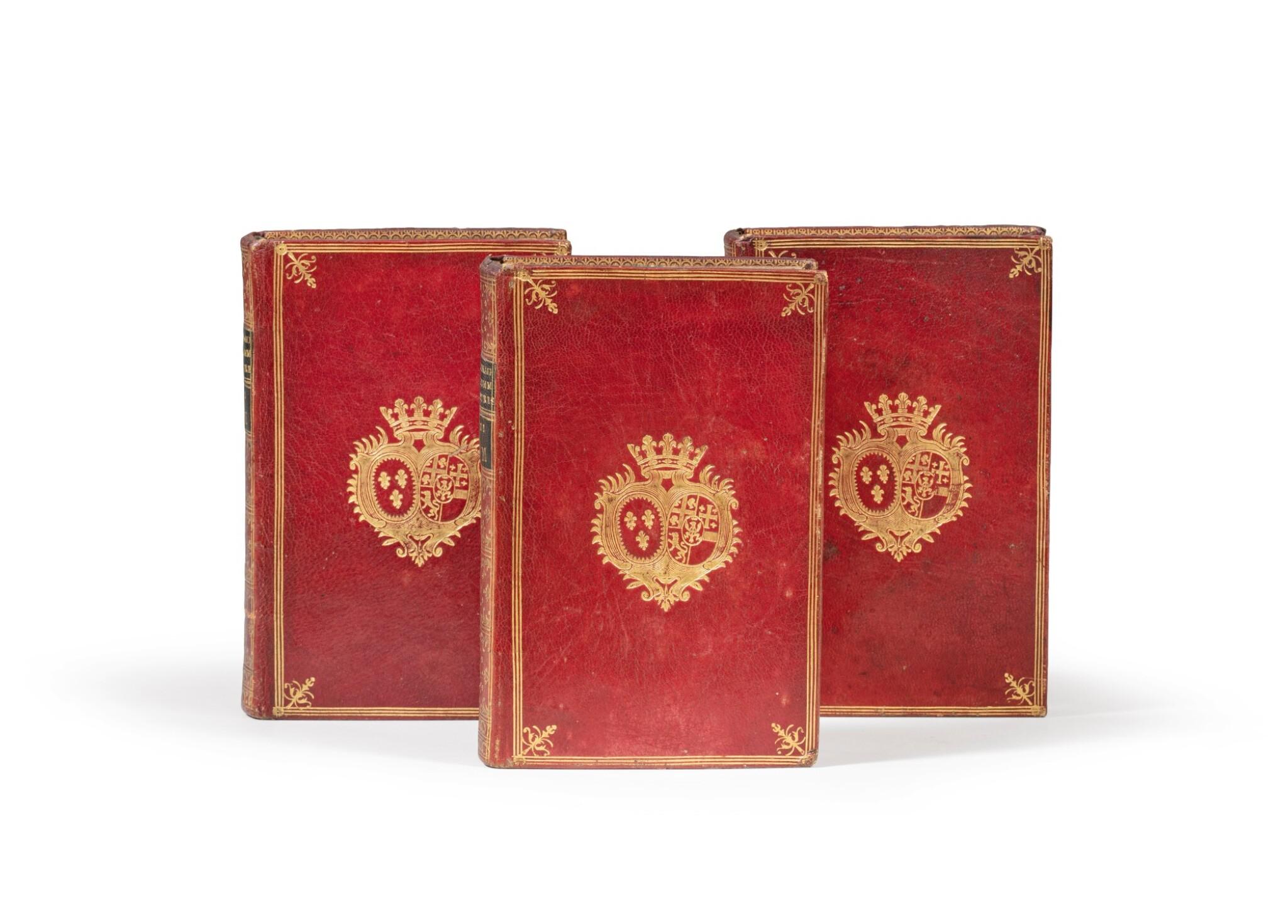 View full screen - View 1 of Lot 77. Dictionnaire des portraits.1768. 3 vol. aux armes de la comtesse de Provence. Avec : Richer..