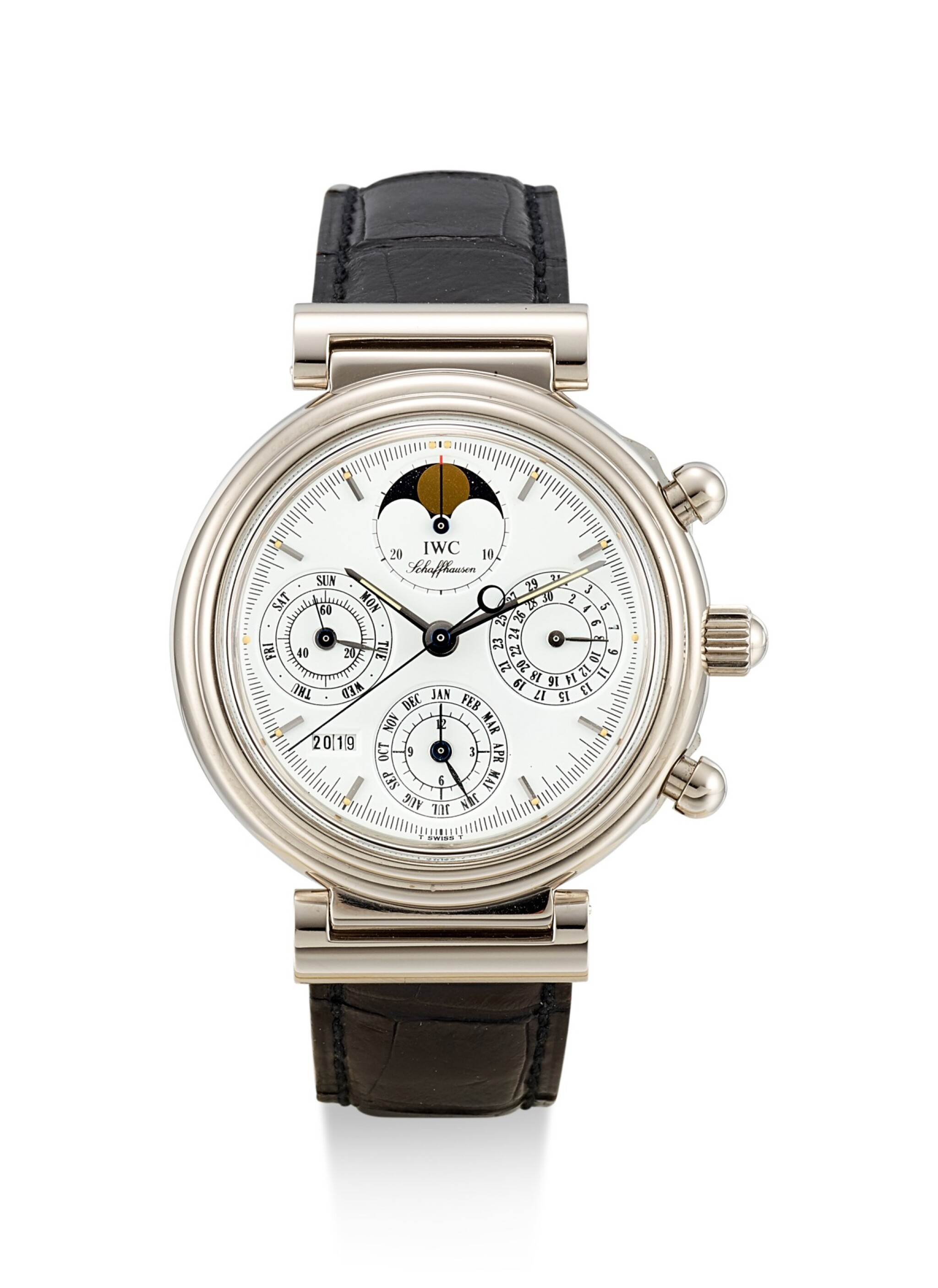 View 1 of Lot 8190. IWC | DA VINCI, A WHITE GOLD PERPETUAL CALENDAR CHRONOGRAPH WRISTWATCH WITH MOON PHASES, LEAP YEAR INDICATION AND DIGITAL YEAR DISPLAY, CIRCA 1990 .