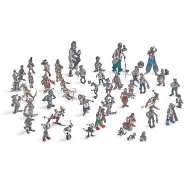 A GROUP OF FORTY-THREE ITALIAN SILVER AND ENAMEL CLOWNS, ARREZO, LATE 20TH CENTURY