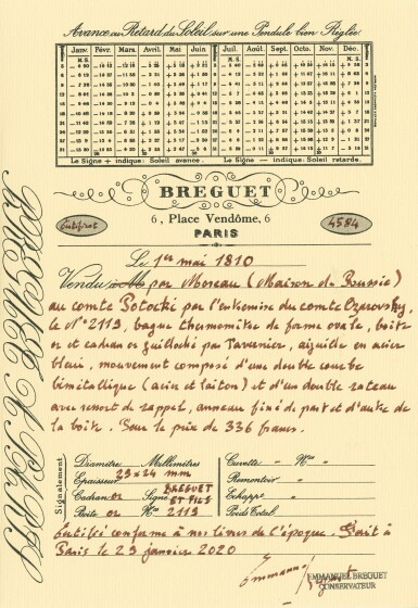 View 3. Thumbnail of Lot 59. BREGUET ET FILS   [寶璣]    A VERY RARE GOLD OVAL RING THERMOMETER  NO. 2119, SOLD 1 MAY 1810 BY MOREAU OF LA MAISON RUSSIE TO COMTE POTOCKI FOR 336 FRANCS   [極罕有黃金橢圓形溫度計,編號2119,1810年5月1日以336法郎售予波托茨基伯爵].
