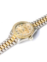ROLEX | REF 69149 DATEJUST TRIDOR, A TRI-COLORED GOLD AND DIAMOND SET AUTOMATIC CENTER SECONDS WRISTWATCH WITH DATE AND BRACELET CIRCA 1987