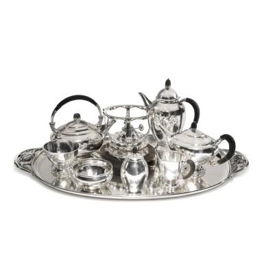 View 2. Thumbnail of Lot 29. An Assembled Eight-Piece Danish Silver Tea and Coffee Set, Georg Jensen Silversmithy, Copenhagen, 20th century.