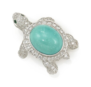 TURQUOISE, EMERALD AND DIAMOND BROOCH (SPILLA IN DIAMANTI, SMERALDI E TURCHESE)