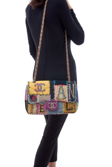 View 5. Thumbnail of Lot 164. MULTICOLOR PATCHWORK WITH SILVER-TONE METAL CLASSIC SHOULDER BAG, CHANEL.