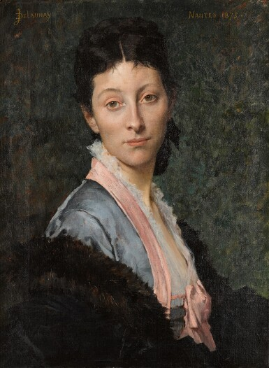 View 1. Thumbnail of Lot 5. JULES-ÉLIE DELAUNAY     PORTRAIT OF A LADY, 'MME. B...', HALF-LENGTH, WEARING A BLUE DRESS WITH PINK RIBBONS, AND A FUR WRAP.