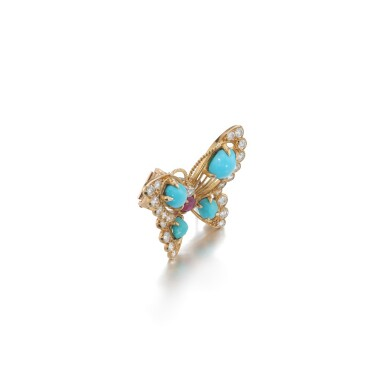View 2. Thumbnail of Lot 16. Turquoise, ruby and diamond brooch.