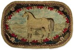 PICTORIAL HOOKED RUG OF A HORSE IN LANDSCAPE, EARLY 20TH CENTURY