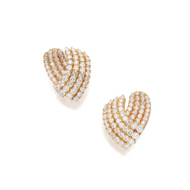 View 2. Thumbnail of Lot 317. Tiffany & Co.   Pair of Gold and Diamond Earclips.