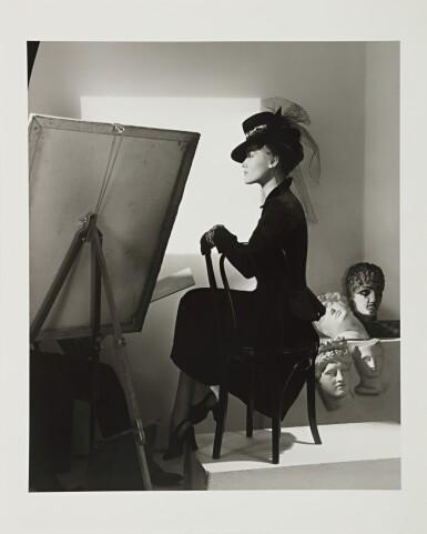 View 2. Thumbnail of Lot 130. Fashion with Easel, Reboux Hat, Cartier Jewels (Estrella Boissevain).