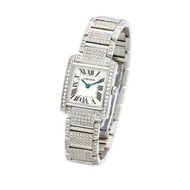 View 2. Thumbnail of Lot 1617. 'Tank Française' Diamond Wristwatch | 卡地亞 | 'Tank Française' 鑽石腕錶.
