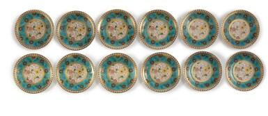 View 3. Thumbnail of Lot 286. A SET OF TWELVE MINTONS 'CLOISONNE' PLATES, 1879-1881.
