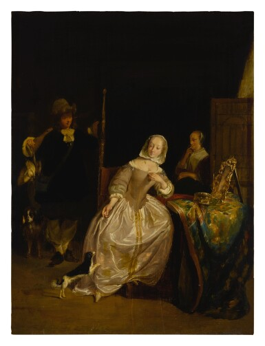 View 2. Thumbnail of Lot 20. A man returning from a hunt, greeted by a lady in an interior.