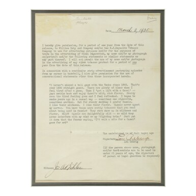 """View 1. Thumbnail of Lot 183. GEHRIG, LOU 