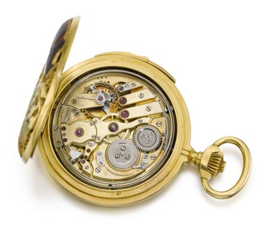 View 4. Thumbnail of Lot 75. RENÉ LALIQUE | AN EXTREMELY RARE AND UNUSUAL ART NOUVEAU GOLD HUNTING CASED KEYLESS LEVER QUARTER REPEATING WATCH, THE PIERCED COVERS WITH PÂTE DE VERRE DECORATION   CIRCA 1900, NO. 17120 [極罕有新藝術風格黃金二問報時懷錶,穿孔錶蓋飾粉末鑄造玻璃,年份約1900,編號17120].