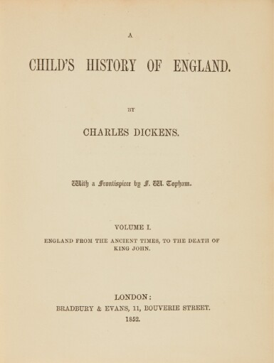 Dickens, Child's History of England, 1852-1854 [1851-1853], first book edition