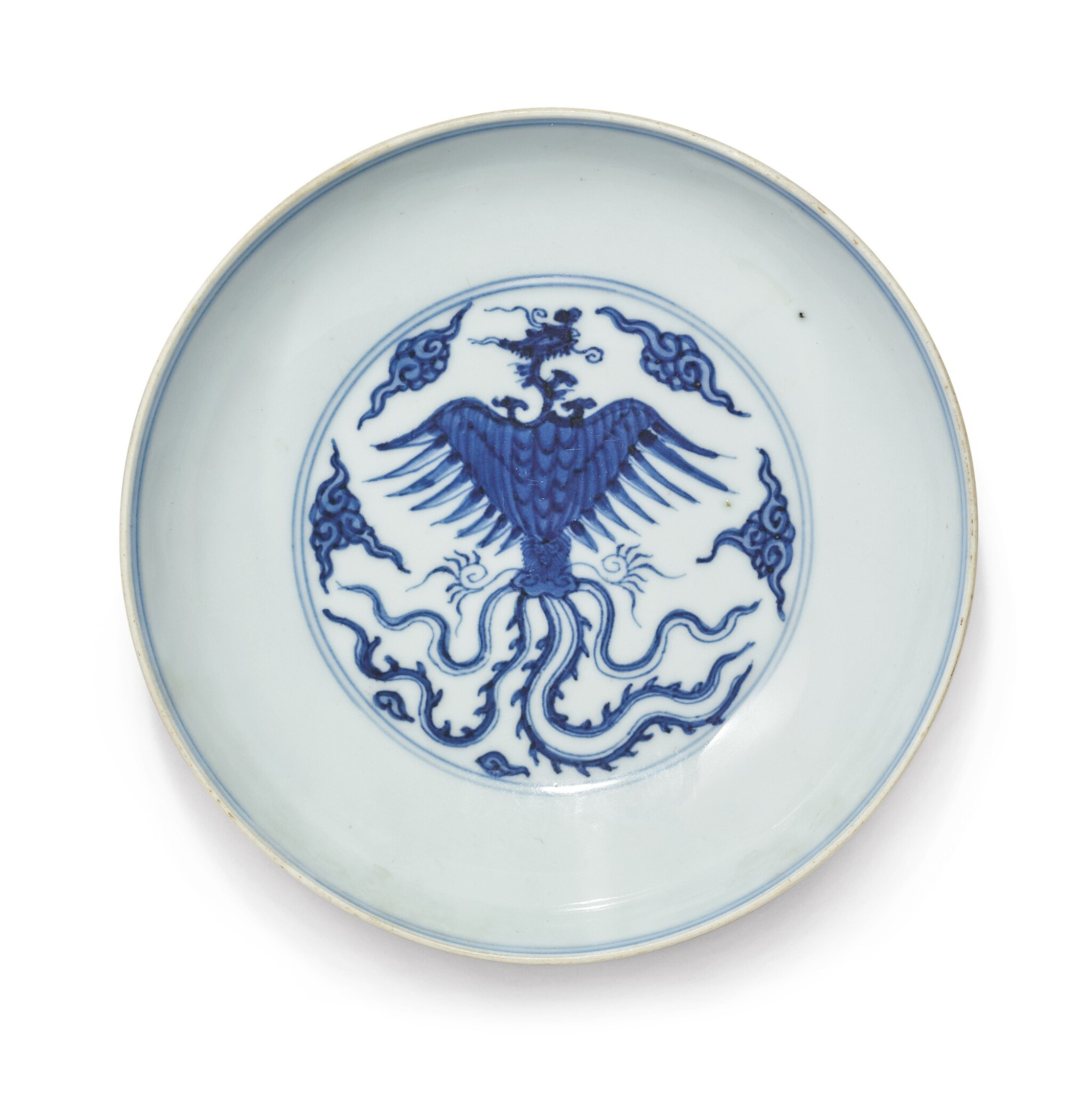 View full screen - View 1 of Lot 1137. A BLUE AND WHITE 'DRAGON AND PHOENIX' DISH, QING DYNASTY, 18TH CENTURY.