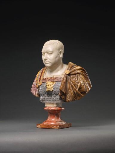 ATTRIBUTED TO FRANCIS HARWOOD (1726/7-1783), ITALIAN, ROME, 18TH CENTURY | BUST OF VITELLIUS