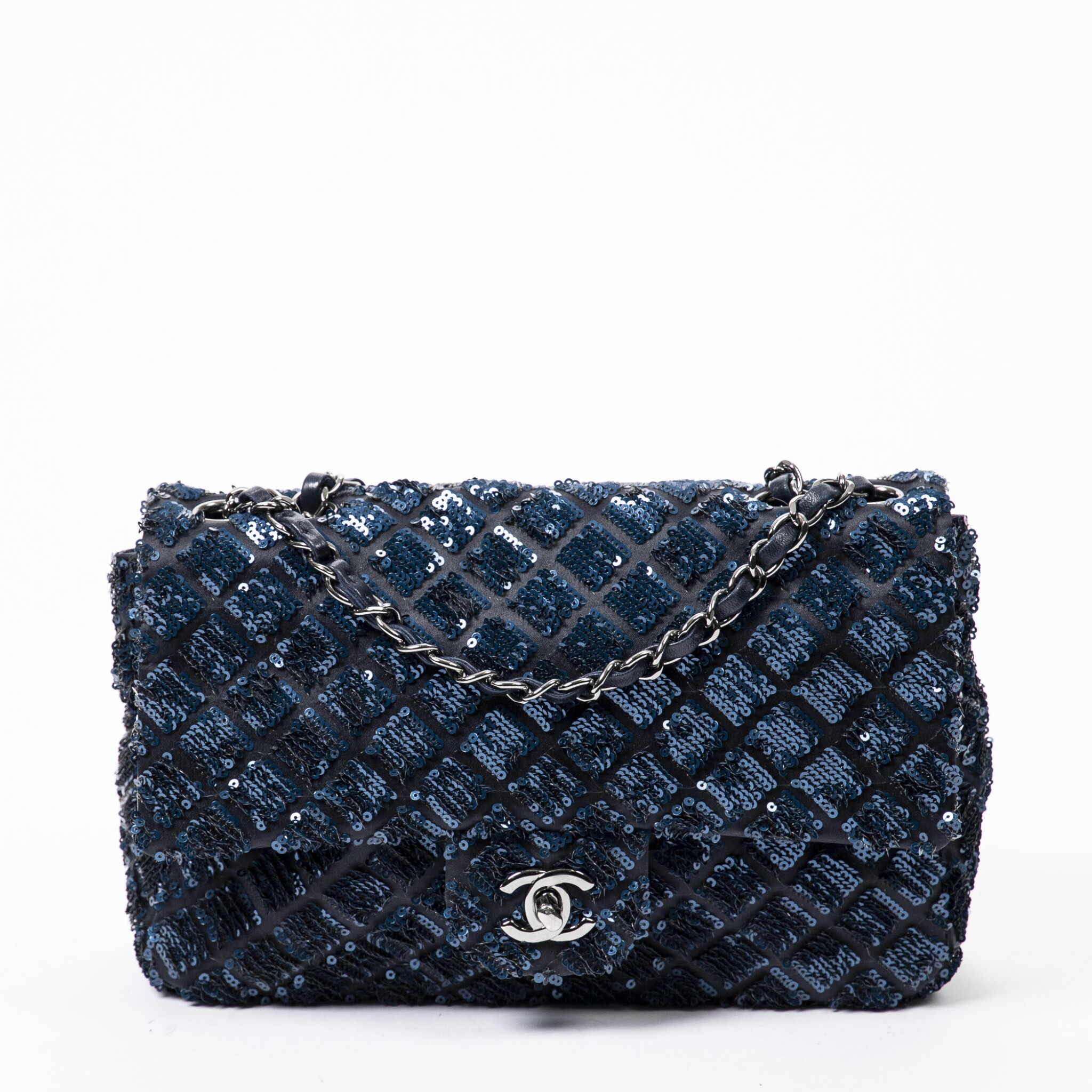 View full screen - View 1 of Lot 41. Dark Blue and Black Classic Single Flap in Quilted Leather and Sequins with Ruthenium Hardware, 2012-2013.