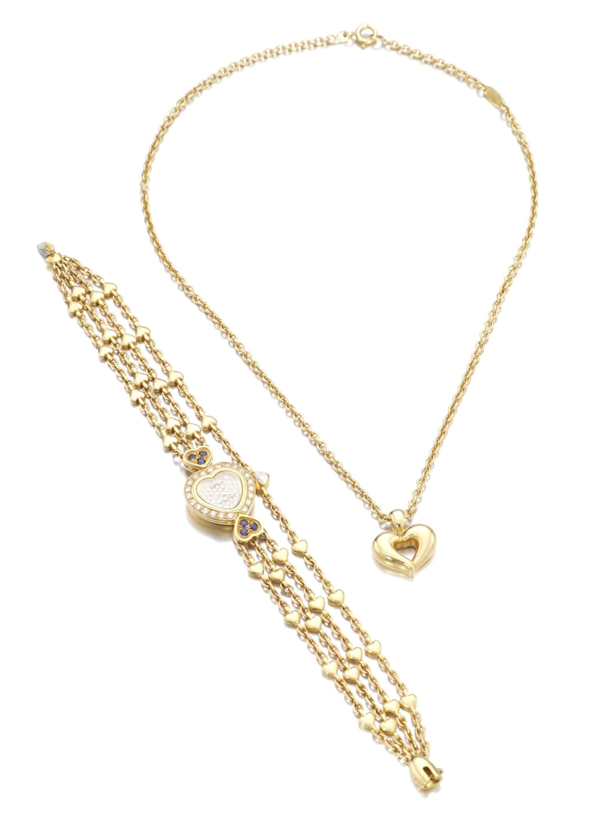 View full screen - View 1 of Lot 169.  DIAMOND AND SAPPHIRE WRISTWATCH, CHAUMET, AND A GOLD NECKLACE, VAN CLEEF & ARPELS.