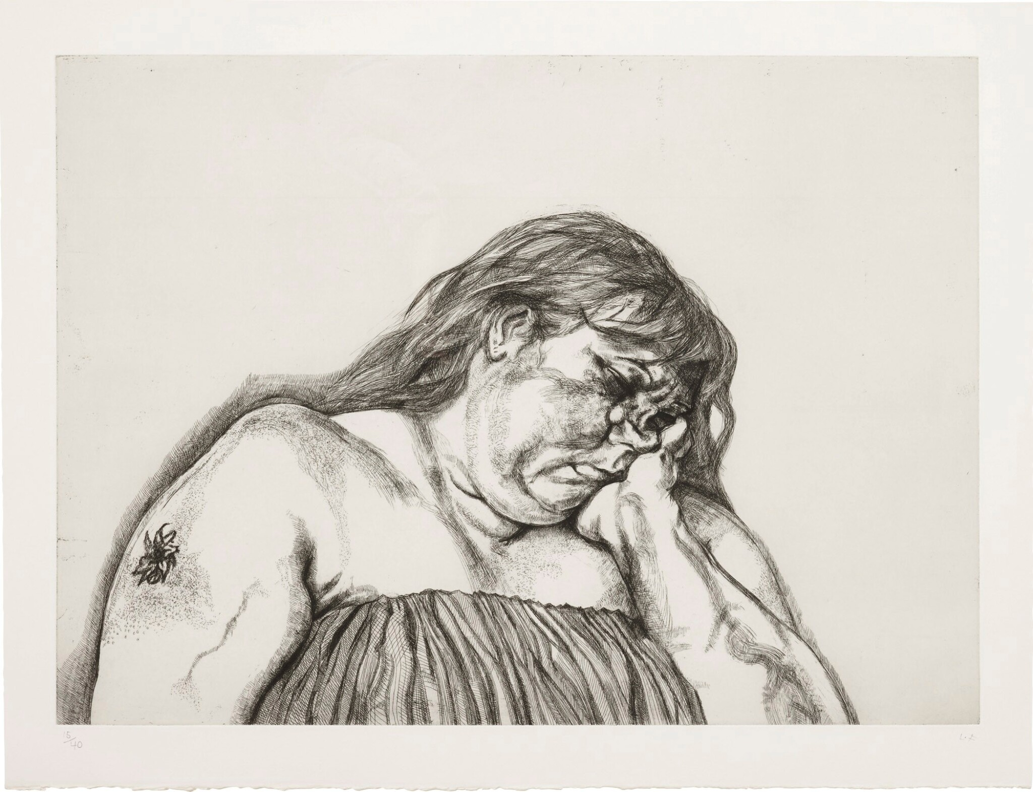 View full screen - View 1 of Lot 101. LUCIAN FREUD | WOMAN WITH AN ARM TATTOO (F. 40).