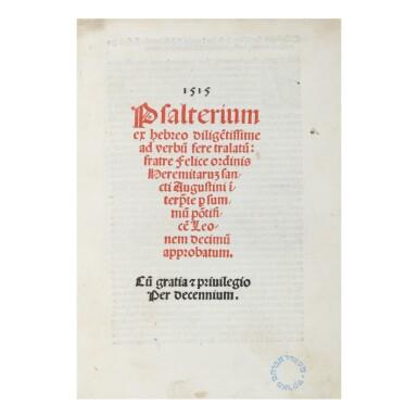 PSALTERIUM, VENICE: DANIEL BOMBERG AND PETRUS LIECHTENSTEIN, 1515