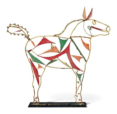 View 2. Thumbnail of Lot 1466. AMERICAN WELDED AND PAINTED WIRE AND SHEET-IRON HORSE SCULPTURE, CIRCA 1950.