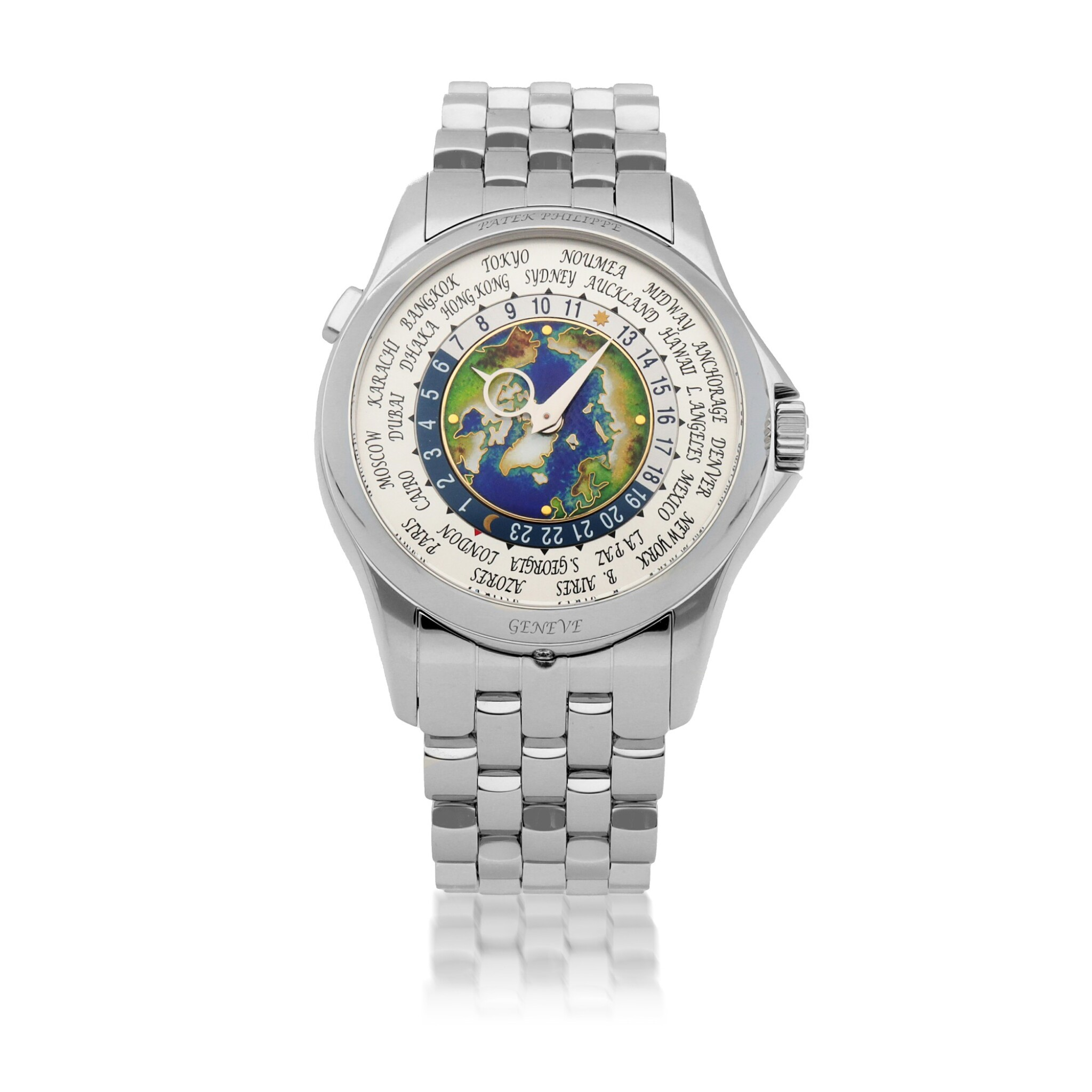 View full screen - View 1 of Lot 342. WORLD TIME, REF 5131P PLATINUM WORLD TIME WRISTWATCH WITH BRACELET CIRCA 2018.
