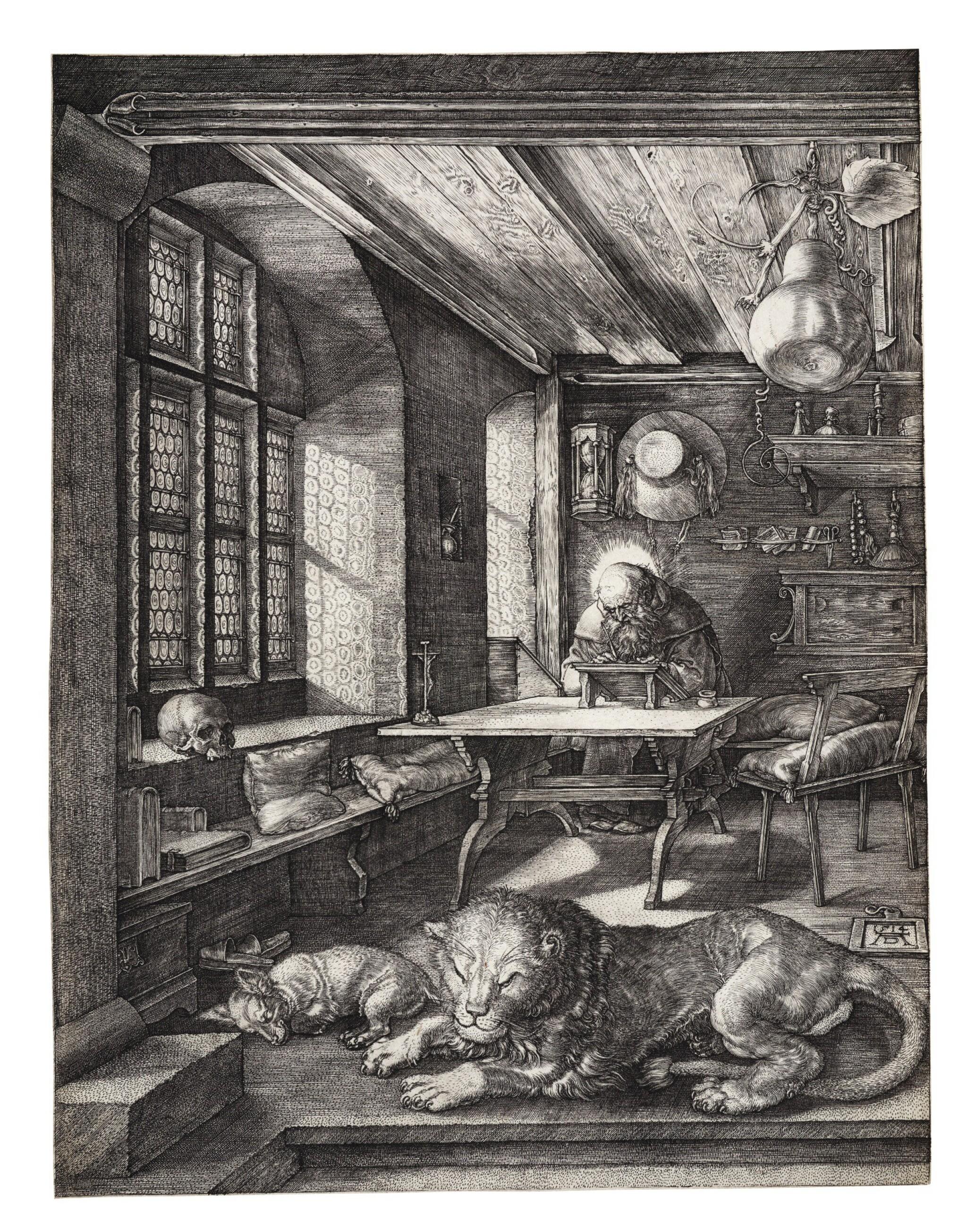 View full screen - View 1 of Lot 7. ALBRECHT DÜRER   SAINT JEROME IN HIS STUDY (B. 60; M., HOLL. 59).