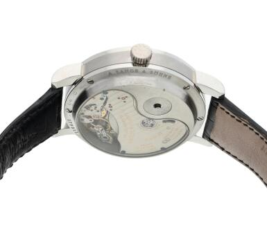 View 5. Thumbnail of Lot 293. Reference 130.025F Lange 31  A platinum wristwatch with date and power reserve indication, Circa 2010 .