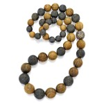 Wood, Amber and Colored Diamond Necklace