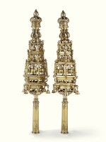 A PAIR OF LARGE ENGLISH SILVER-GILT TORAH FINIALS, CHARLES REILY & GEORGE STORER, LONDON, 1842