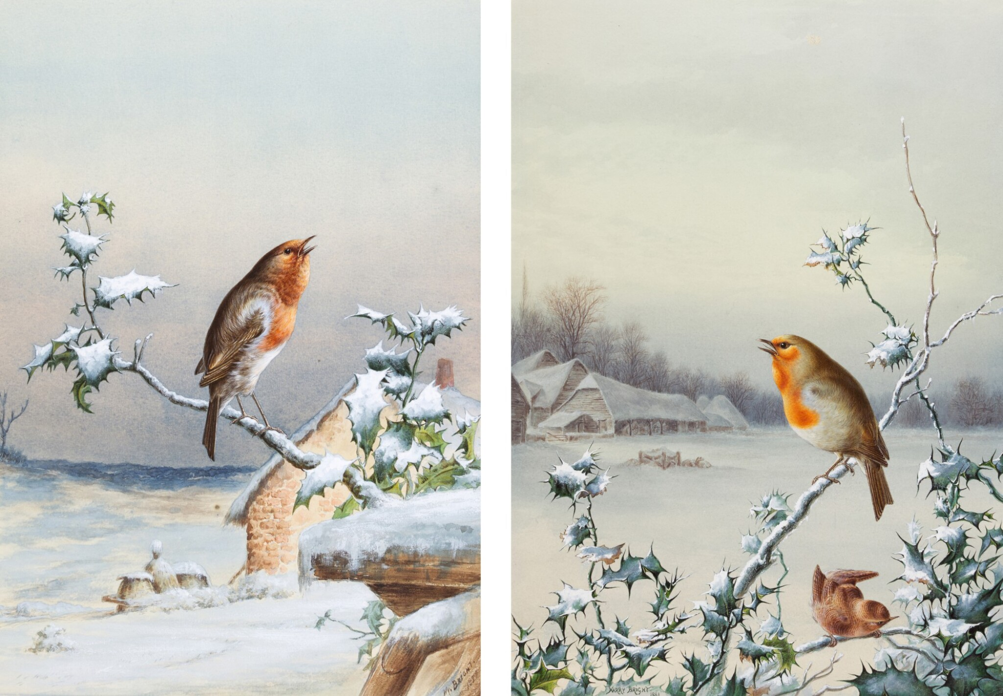 View 1 of Lot 143.  Winter - A Cock Robin; Winter - A Robin and Wren.
