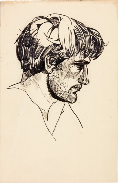 View 1. Thumbnail of Lot 4. Sylvia Plath | Pen and ink portrait of Ted Hughes, [1956].