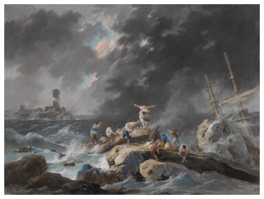 A shipwreck on a rocky coast during a storm; A shipwreck on a coast during a storm, a lighthouse beyond