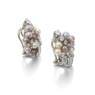 View 2. Thumbnail of Lot 1167. Pair of cultured pearl and diamond ear clips.