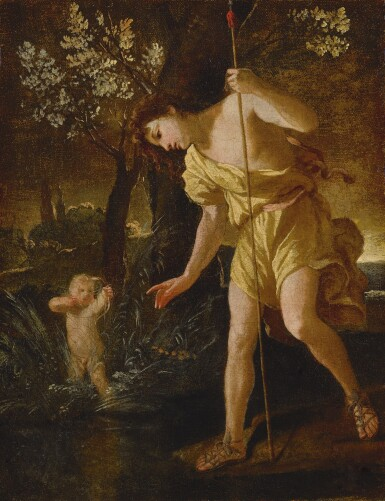 View 1. Thumbnail of Lot 40. NICOLAS POUSSIN   NARCISSUS GAZING AT HIS REFLECTION AND CUPID SHOOTING AN ARROW, IN A LANDSCAPE.