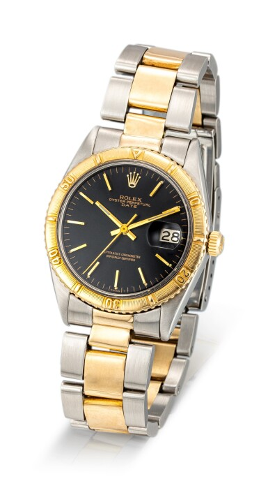 """View 2. Thumbnail of Lot 8173. ROLEX   THUNDERBIRD DATEJUST, REFERENCE 1625   A YELLOW GOLD AND STAINLESS STEEL WRISTWATCH WITH DATE AND BRACELET, CIRCA 1968   勞力士   """"Thunderbird"""" Datejust 型號1625 黃金及精鋼鏈帶腕錶,備日期顯示,約1968年製 ."""