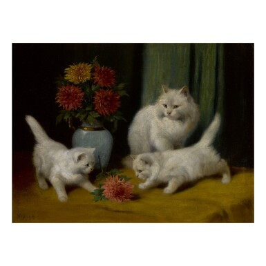 ARTHUR HEYER   KITTENS PLAYING WITH A FLOWER