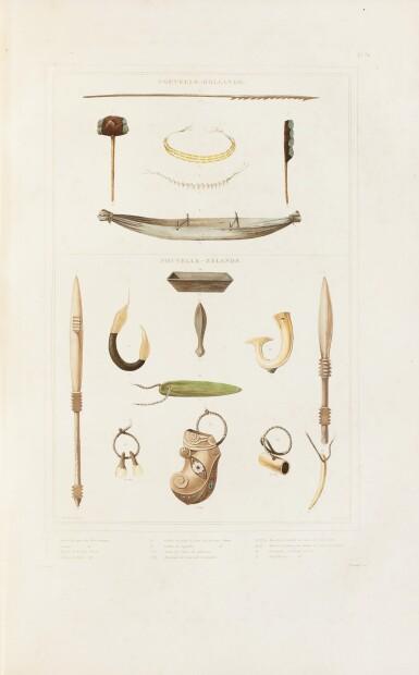 View 4. Thumbnail of Lot 34. DUMONT D'URVILLE. Voyage de la corvette L'Astrolabe. Paris, J. Tastu, 1830-1833. 17 vol. Reliure moderne. .