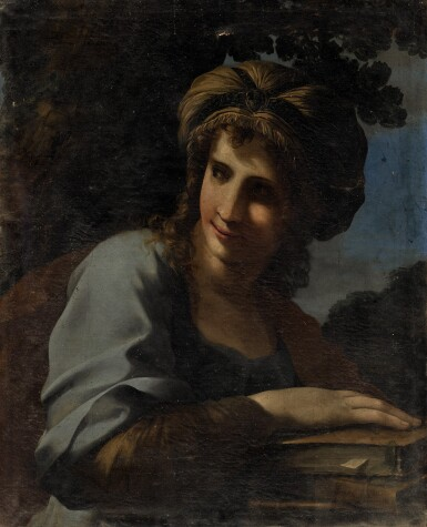 GIOVANNI FRANCESCO ROMANELLI, CALLED VITERBESE | A SYBIL, BUST LENGTH, LOOKING LEFT AND RESTING HER HAND ON BOOKS