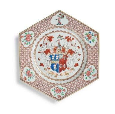 View 1. Thumbnail of Lot 287. A CHINESE EXPORT ARMORIAL HEXAGONAL PLATE, QING DYNASTY, YONGZHENG / QIANLONG PERIOD, CIRCA 1735.