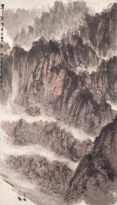 View 1. Thumbnail of Lot 2722. Fu Baoshi 傅抱石 | Sailing Along the Mighty Gorges 瞿塘煙月.